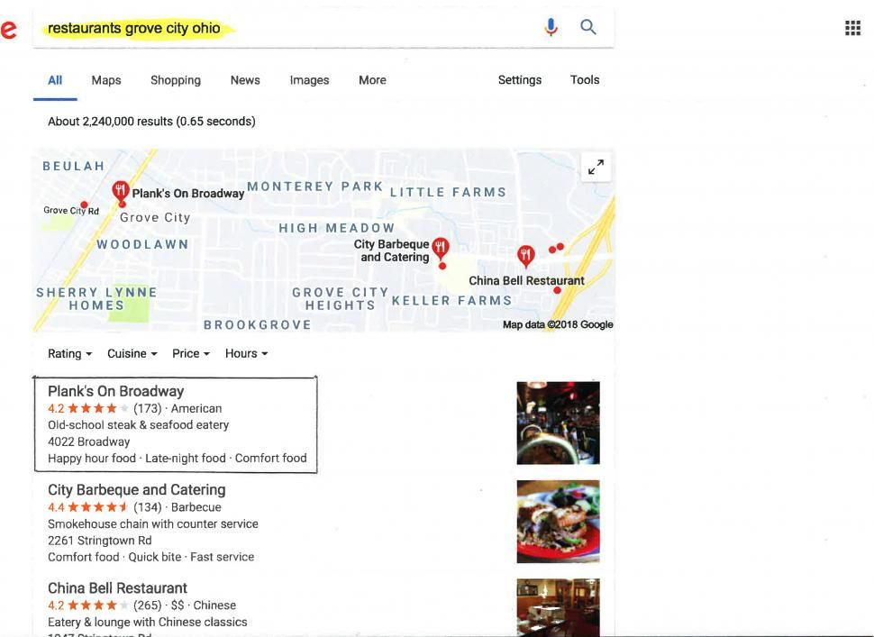 "Google ranked planksonbroadway.com #1 for ""restaurants Grove City Ohio"" soon after the site launched."